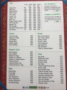 Edelweiss Hotel Menu - Everest Base Camp Trek Cost - Food