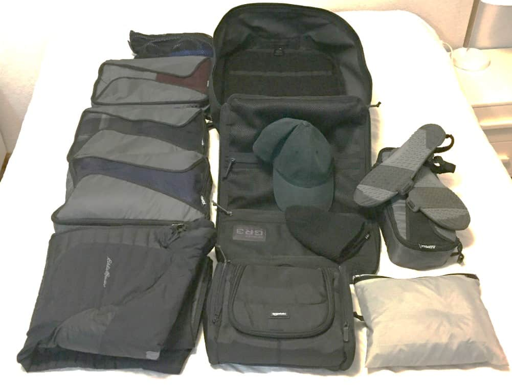 My normal travel kit after packing cubes