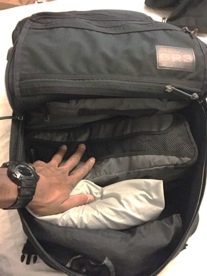 The GORUCK GR3 zippers and fabric are durable enough to load packing cubes in stacked 3 high, saving space
