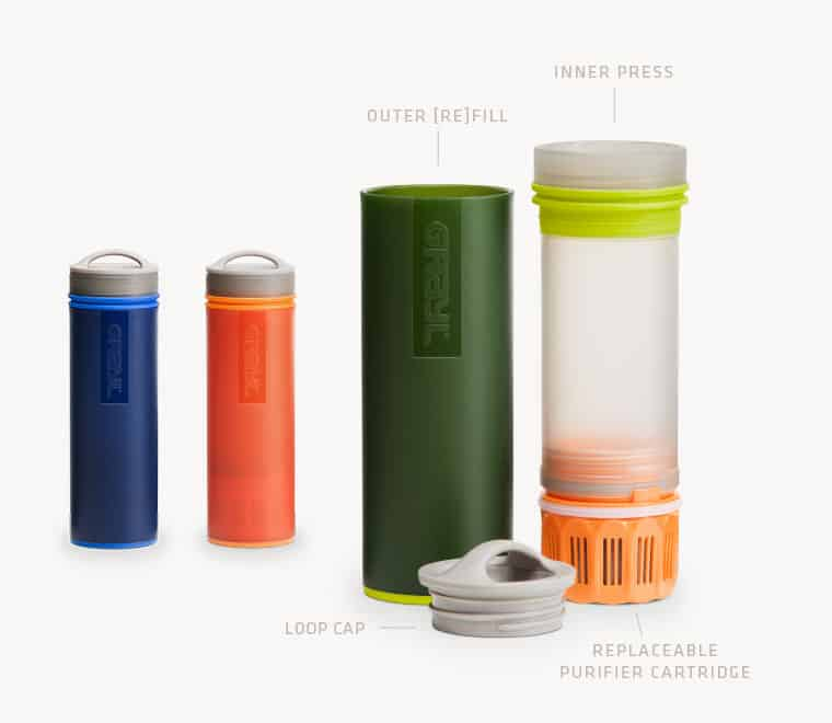 The Grayl is a great portable water purifier bottle that eliminates bacteria, parasites, viruses, chemicals, and heavy metals, but is limited by a 150 liter life per filter - Grayl Ultralight Water Purifier Review