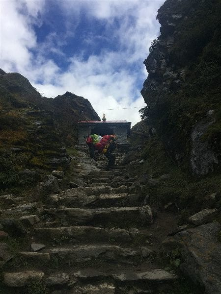 A stone set of stairs on the Everest Base Camp hike from Namche Bazaar to Tengboche and Pheriche