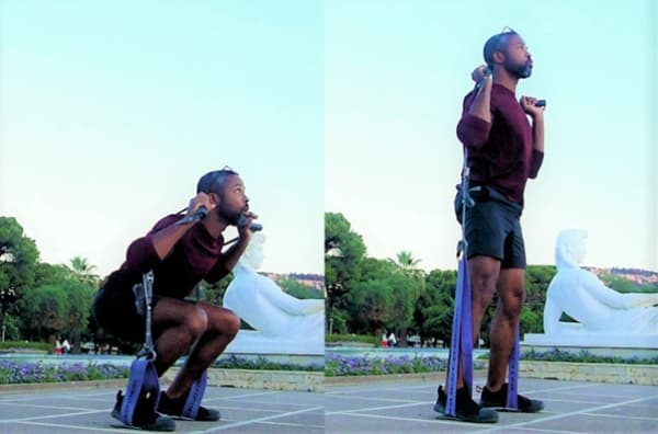Resistance Bands Squats using the Rogue Monster Bands and Monkii Bars 2 Suspension Trainer