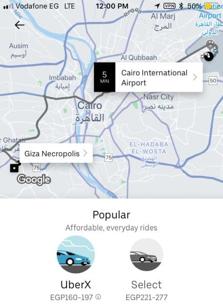 How to get from the Cairo airport to the Pyramids of Giza - use Uber