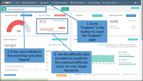 "Using Keysearch's ""Explorer"" tool to assess what is the best SEO keyword competitive difficulty level for your site"