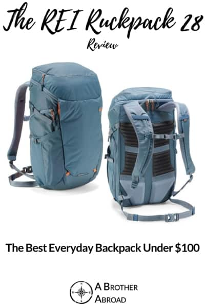 REI Ruckpack 28 is an excellent, style focused rucksack in a compact 28 Liter size.  With zip away pockets, a sleek exterior, and an extremely comfortable back panel, you'll be hard pressed to find a better daypack for less than $100 | An REI Ruckpack 28 Review by A Brother Abroad