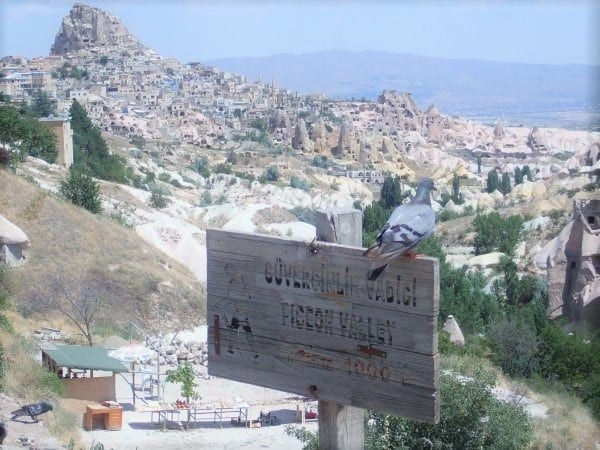 """Pigeon Valley and a view of the """"Cave Castle"""" on the Green Tour of Cappadocia"""