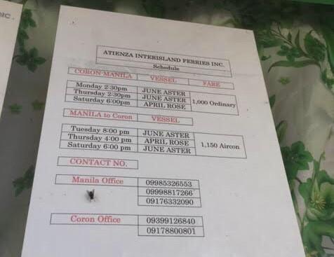 Coron to Manila and Manila to Coron Ferry Schedule with Atienza Ferry