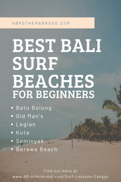 A guide to finding the best beaches for beginners and surfing lessons in Canggu, Bali for your surfing vacation. Whether you're beginner or intermediate, this Cangg Surf travel guide will help you find the best way to fit your travel bucket list • Adventure Travel Bucket List (item) • Canggu Bali Indonesia Things to do • Surfing Trips for beginners • Surfing vacation • Surf Travel guide
