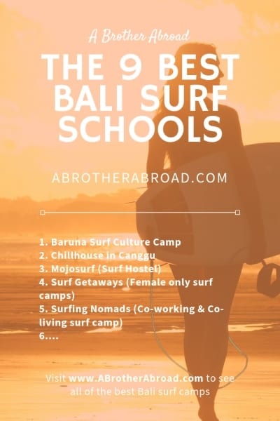 The 9 best Canggu Surf schools and the best surf camps on Bali for beginner and intermediate surfers, picked by Bali locals and nomads.  These camps make the perfect surfing vacation and surfing trips for beginners.  Perfect for your adventure travel bucket list  | www.ABrotherAbroad.com  (Canggu Bali Indonesia Things to do, Surf Travel guide) ABrotherAbroad.com