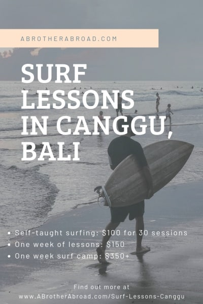 A guide to finding surfing lessons in Canggu, Bali for your surfing vacation.  Whether you're beginner or intermediate, this Cangg Surf travel guide will help you find the best way to fit your travel bucket list • Adventure Travel Bucket List (item) • Canggu Bali Indonesia Things to do • Surfing Trips for beginners • Surfing vacation • Surf Travel guide