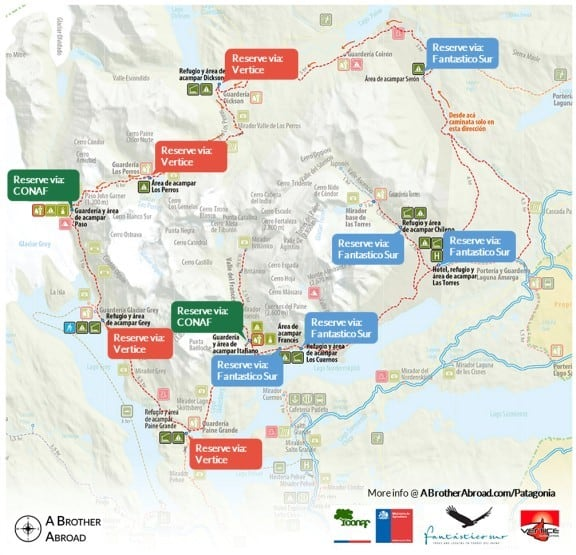 Torres del Paine Campsites and Refugios for the Torres del Paine W Trek and Circuit Trek | www.ABrotherAbroad.com