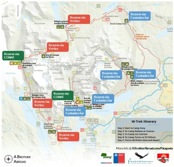 Torres del Paine W Trek Map Itinerary | www.ABrotherAbroad.com
