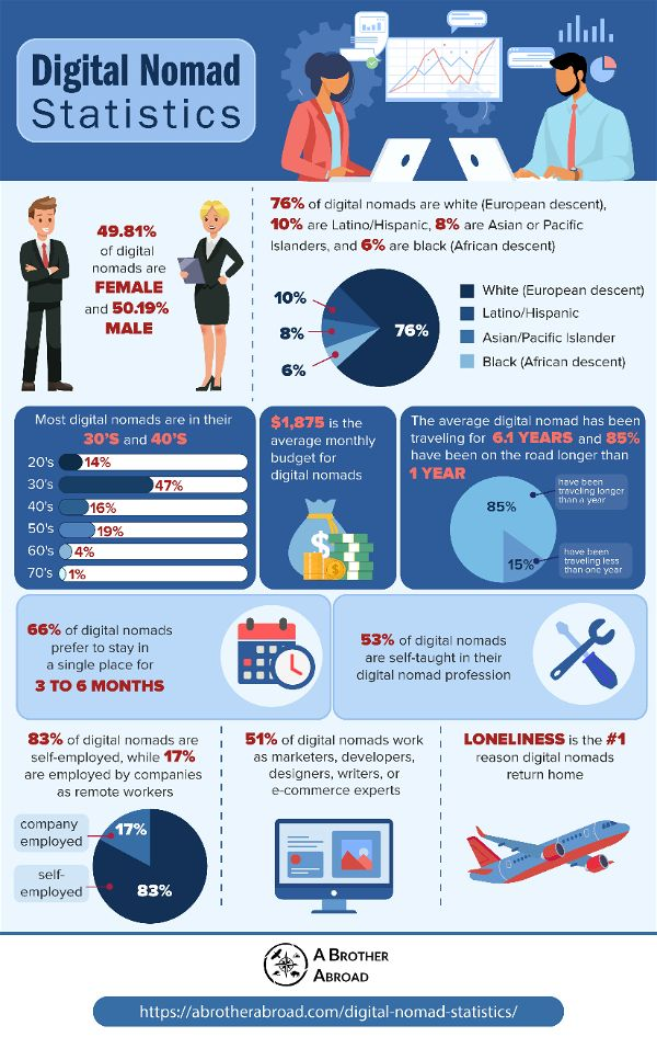 Digital nomad statistics infographic | ABrotherAbroad.com